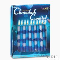 Decorative Blue & White Chanukah Candles