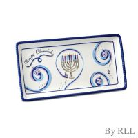 """Chanukah Ribbons"" Rectangular Ceramic Serving Tray"