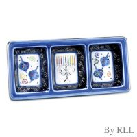 """Chanukah Festival"" 3 Section Ceramic Serving Tray"