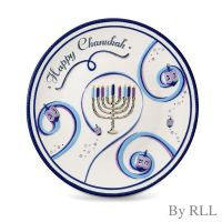 """Chanukah Ribbons"" Round Ceramic Serving Platter"